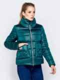 Стёганая куртка с накладными карманами зеленая 40728, фото 3