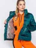 Стёганая куртка с накладными карманами зеленая 40728, фото 5