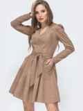 Вельветовое платье с v-вырезом и расклешенной юбкой бежевое 45629, фото 3