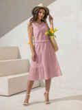 Платье из прошвы с многоярусной юбкой пудровое 54458, фото 2
