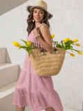 Платье из прошвы с многоярусной юбкой пудровое 54458, фото 3