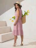 Платье из прошвы с многоярусной юбкой пудровое 54458, фото 4
