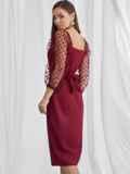 Приталенное платье с фатиновыми рукавами в горох бордовое 50063, фото 4