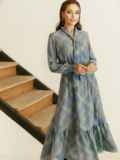 Расклешенное платье в клетку и воланом по низу серое 53054, фото 2