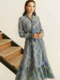 Расклешенное платье в клетку и воланом по низу серое 53054, фото 6
