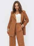 Коричневый двубортный пиджак из льняной ткани 54097, фото 2