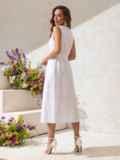 Приталенное платье из белого льна на пуговицах  49155, фото 3