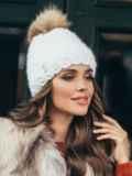 Зимняя шапка с помпоном и флисовой подкладкой белая 51100, фото 1