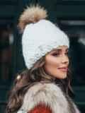 Зимняя шапка с помпоном и флисовой подкладкой белая 51100, фото 2