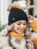 Зимняя шапка с помпоном и флисовой подкладкой чёрная 51098, фото 1