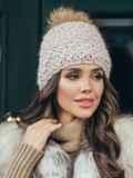 Зимняя шапка с помпоном и флисовой подкладкой пудровая 51099, фото 1