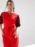 Красное платье батал с кружевными рукавами 53196, фото 4