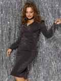 Платье из люрекса с драпировкой по лифу чёрное 42885, фото 2