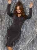 Платье из люрекса с драпировкой по лифу чёрное 42885, фото 3