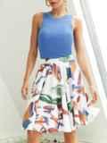 Шифоновая юбка-мини с абстрактным принтом белая 53885, фото 2