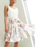 Шифоновая юбка-мини с цветочным принтом белая 53884, фото 2