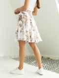 Шифоновая юбка-мини с цветочным принтом белая 53884, фото 3
