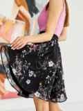Шифоновая юбка-мини с цветочным принтом черная 53881, фото 2