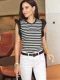 Трикотажная футболка в полоску с оборкой по рукаву 54424, фото 3
