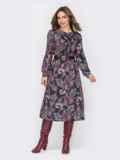 Принтованное платье с жабо и юбкой-трапецией черное 52936, фото 2