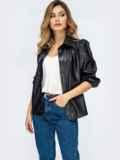 Чёрная рубашка из эко-кожи с рукавами-буфами 44887, фото 4
