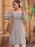 Платье из шифона молочного цвета с завышенной талией 54380, фото 7