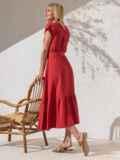 Расклешенное платье кораллового цвета с воланом по низу 49367, фото 2