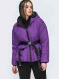 Фиолетовая куртка с капюшоном и объемными карманами 45256, фото 2
