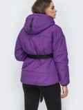 Фиолетовая куртка с капюшоном и объемными карманами 45256, фото 3