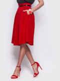 Красная расклешенная юбка с карманами по бокам 38368, фото 2