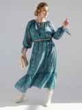 Шифоновое платье-миди с принтом и воланом по низу зеленое 53363, фото 2