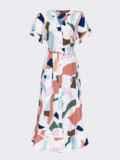 Платье из софта с принтом на пуговицах белое 53695, фото 4
