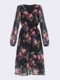 Шифоновое платье с растительным принтом чёрное 40589, фото 4