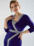 Темно-синее платье батал с отделкой спереди 53204, фото 6
