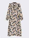 Бежевое платье из шифона с принтом и воротником-аскот 53053, фото 7