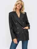 Двубортный пиджак графитового цвета с карманами 55111, фото 3