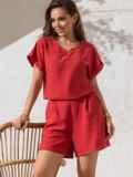 Костюм кораллового цвета из свободной блузки и шорт 49138, фото 2