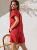 Костюм кораллового цвета из свободной блузки и шорт 49138, фото 3