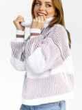 Пудровый свитер с объёмным рукавом и высоким воротником 52884, фото 2