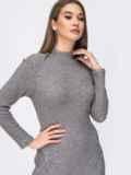 Трикотажное платье с разрезом спереди серое 44196, фото 3