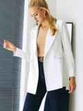 Белый пиджак из льняной ткани с лацканами 54100, фото 1