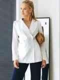 Белый пиджак из льняной ткани с лацканами 54100, фото 2