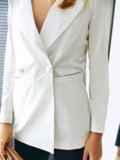 Белый пиджак из льняной ткани с лацканами 54100, фото 4