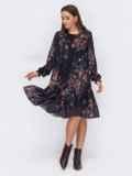 Черное платье-трапеция из шифона с принтом 53312, фото 3