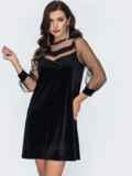 Чёрное платье-трапеция из бархата с фатиновой кокеткой 52058, фото 3