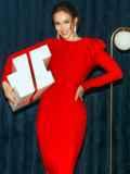 Облегающее платье-миди красного цвета 52060, фото 1