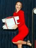 Облегающее платье-миди красного цвета 52060, фото 2