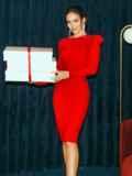 Облегающее платье-миди красного цвета 52060, фото 3