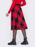 Красная юбка А-силуэта из жаккарда 52684, фото 2