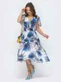 Платье с принтом и вафельной резинкой по талии белое 46881, фото 2